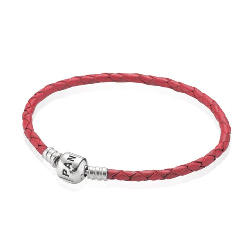 Pulsera Moments de cuero trenzado simple Roja | PANDORA