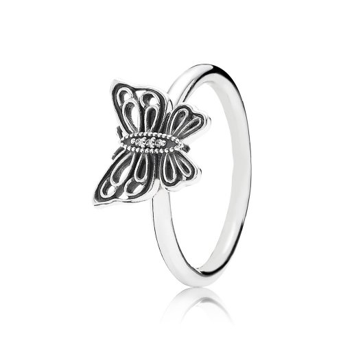 Openwork butterfly silver ring with cubic zirconia - PANDORA