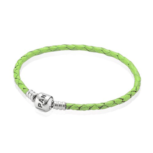 Pulsera Moments de cuero trenzado simple verde | PANDORA