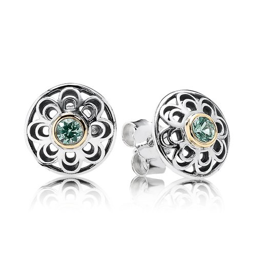 Silver stud earring with 14k and green synthetic spinel - PANDORA