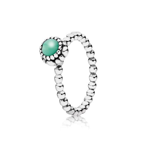 Silver ring, birthstone-May, chrysoprase - PANDORA