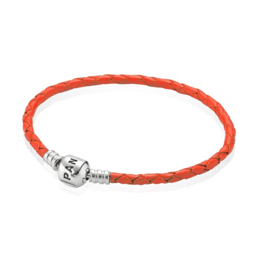 Pulsera Moments de cuero trenzado simple naranja | PANDORA