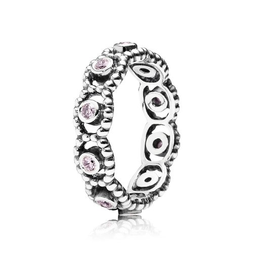 Silver ring with pink cubic zirconia 190881PCZ Anillos PANDORA
