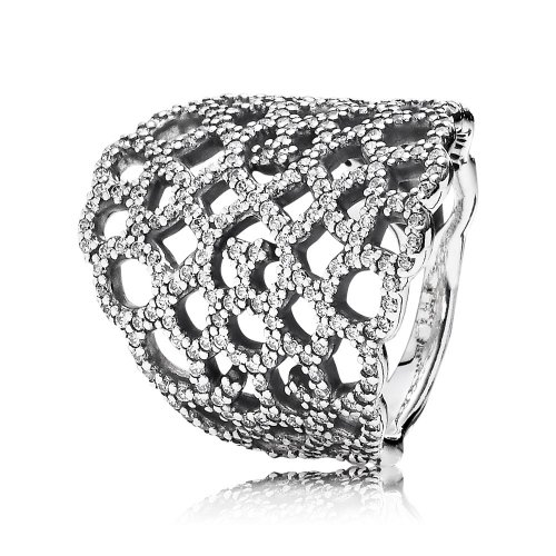 Lace silver ring with cubic zirconia 190907CZ Anillos PANDORA
