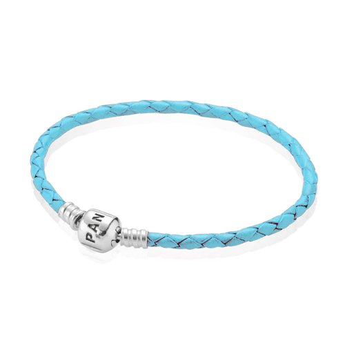 Pulsera Moments de cuero trenzado simple azul claro | PANDORA