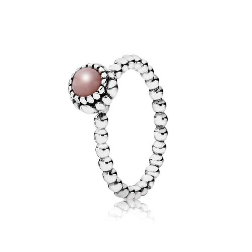 Silver ring, birthstone-October, pink opal - PANDORA