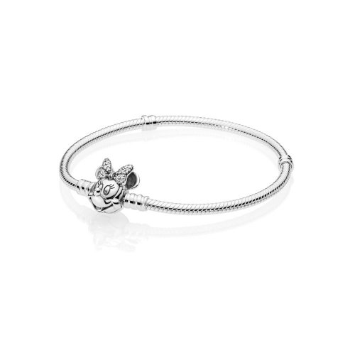 Disney, Pulsera PANDORA Moments en plata de ley Retrato de Minnie Brillante