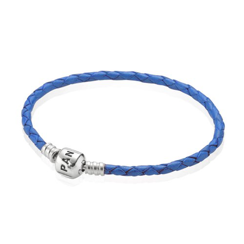 Pulsera Moments de cuero trenzado simple Azul | PANDORA