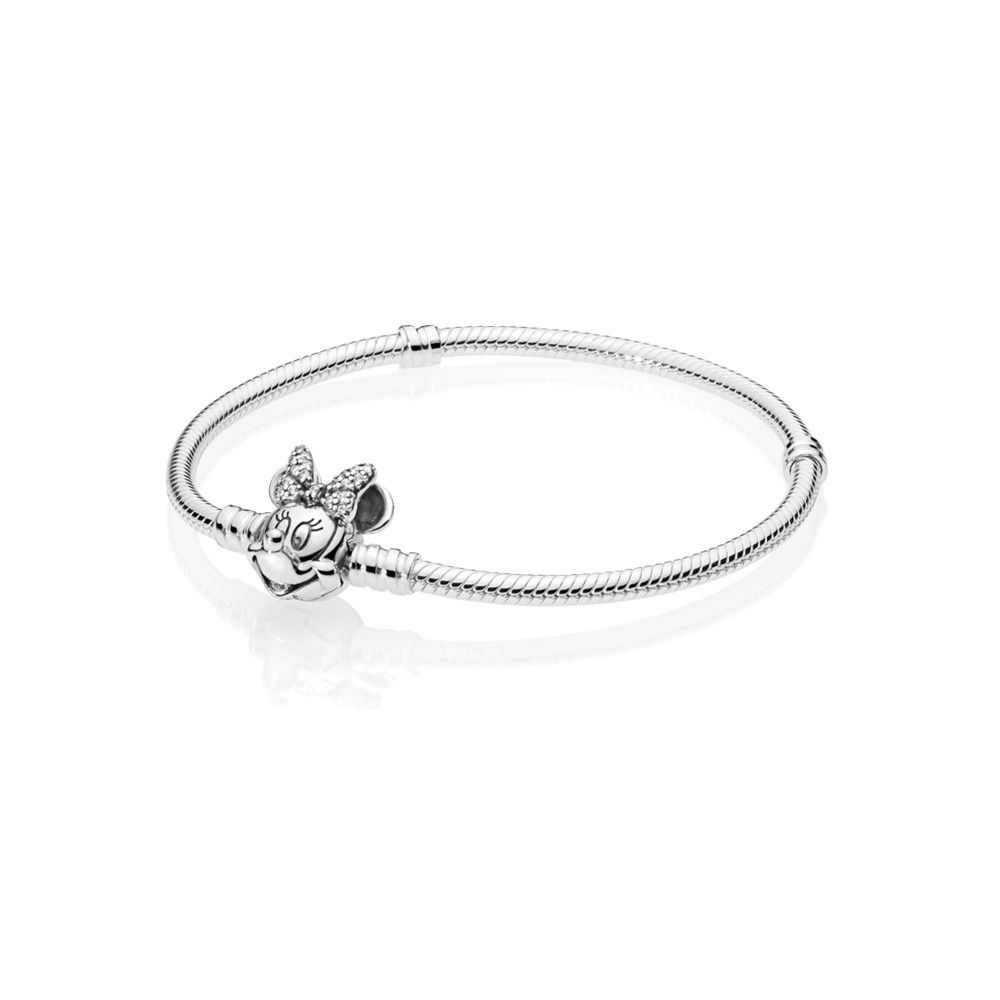 disney pulsera pandora moments en plata de ley retrato de minnie brillante 597770cz